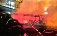 Un bus del Transantiago se incendió en plena Alameda